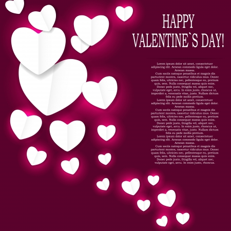 couple lit: Valentines day paper heart backgroung, vector illustration