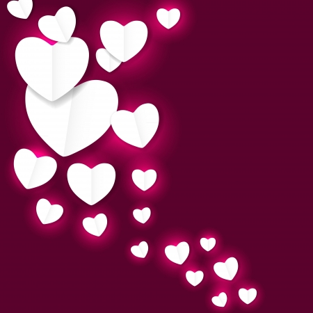 Valentines day paper heart backgroung, vector illustration Stock Vector - 17215886