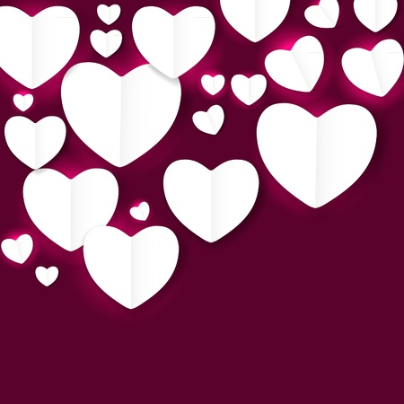 Valentines day paper heart backgroung, vector illustration Stock Vector - 17215887