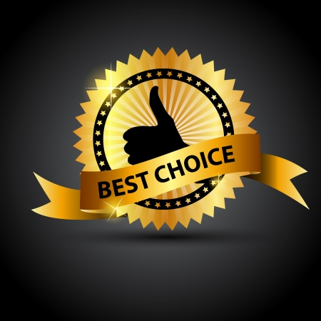 good service: Vector best choice  label with red ribbon