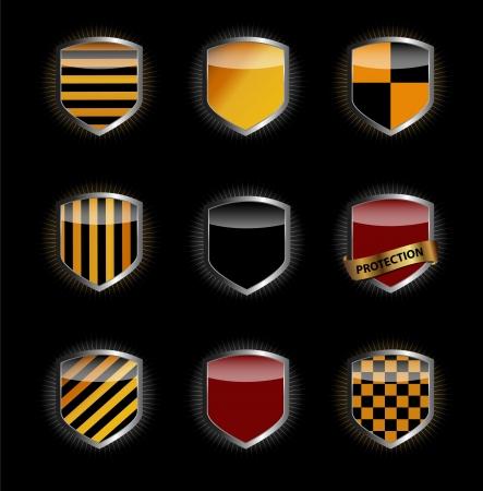 shield set: Protect shield set vector illustration