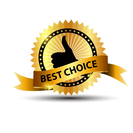 Vector best choice  label with gold ribbon  Vector