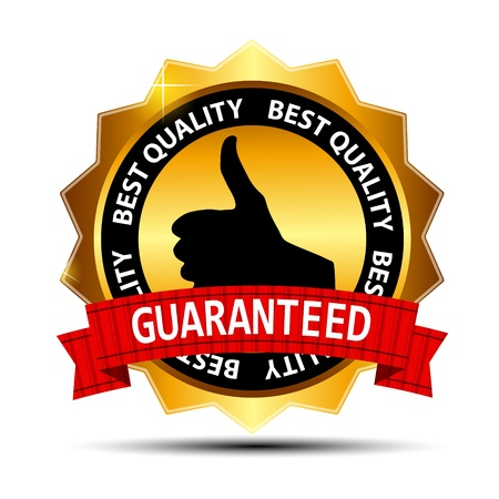 best seller: Best quality guaranteed gold label with red ribbon vector illust Illustration