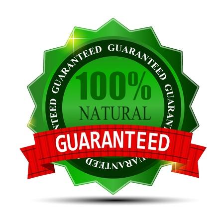 100 étiquette naturel vert isolé sur blanc illustration vectorielle Vecteurs