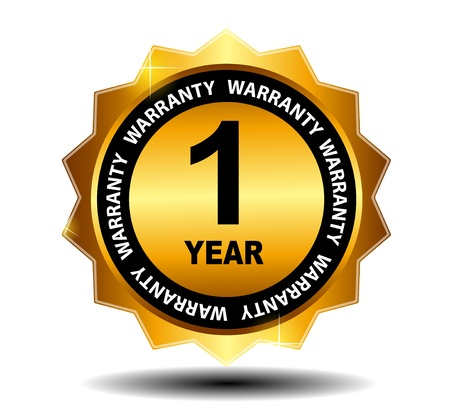 1 year warranty: Gold vector guarantee sign, warranty label
