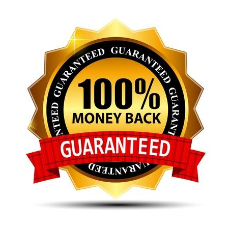 guarantee seal: Dinero de vuelta Vector signo garant�a de oro, etiqueta
