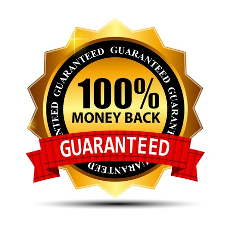 percentage: Vector money back guarantee gold sign, label Illustration