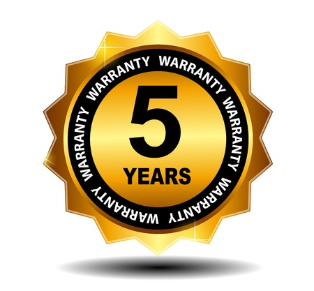 five year: Gold vector guarantee sign, warranty label