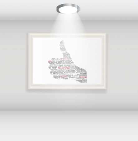 Hand signal on white frames in art gallery vector illustration  Vector