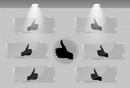 Hand signal on white frames in art gallery vector illustration Stock Vector - 17540808