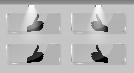 Hand signal on white frames in art gallery vector illustration Stock Vector - 17540806