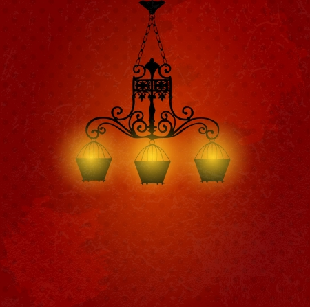 Vintage background with chandelier vector illustration Stock Vector - 17594305