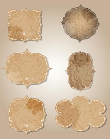aged paper labels vector illustration Vector