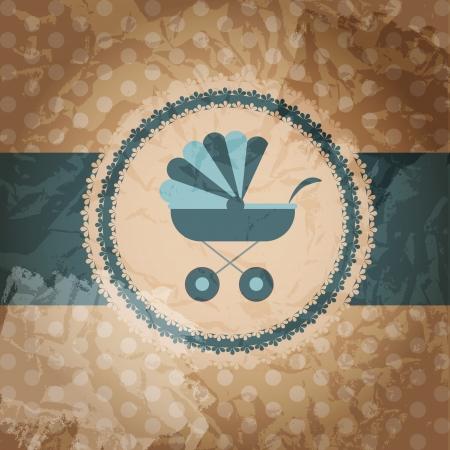 illustration of blue baby carriage for newborn boy illustration
