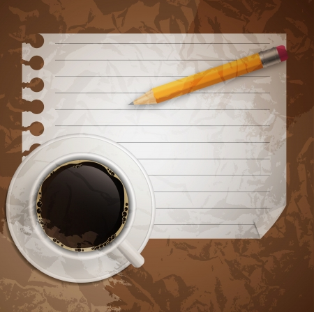 Blank book with coffee and photo frame vector illustration on bu Vector