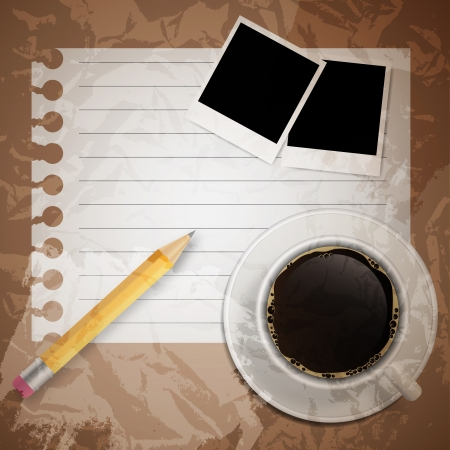 illustratio: Blank book with coffee and photo frame vector illustratio