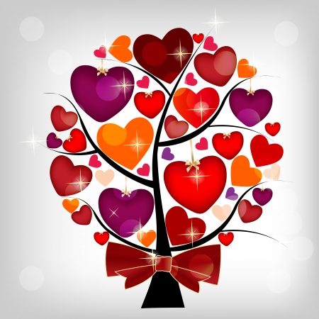 couple lit: Valentines day card on the tree, vector illustration