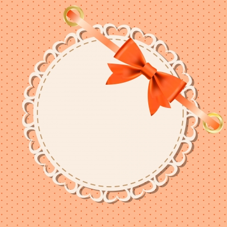 Vector greeting card with frame and bow  Space for your text  Ilustração