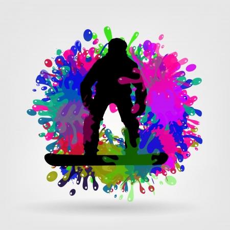 ean: snowboarding background vector illustration