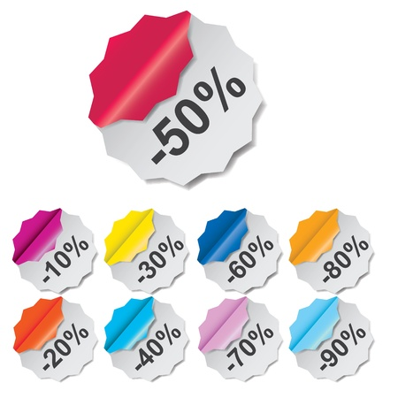 Paper Discount labels with different corner  vector illustration Stock Illustration - 17924930