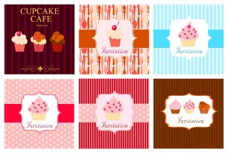 The concept of cupcakes cafe menu.  Vector