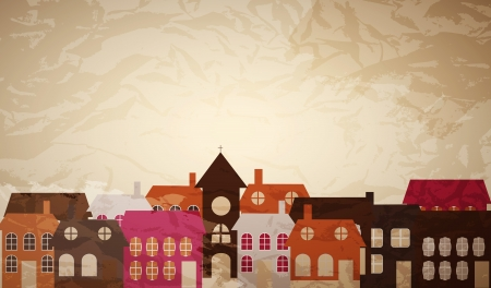 home deco: Card with a beautiful little  town. Vector illustration