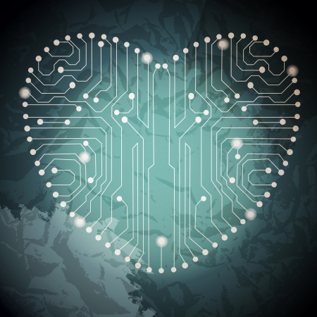 Circuit board with in heart shape pattern Stock Vector - 18024512