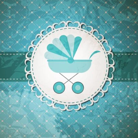 bebe azul: Ilustraci�n vectorial de cochecito de beb� azul para ni�o reci�n nacido Vectores