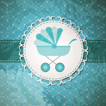 Vector illustration of BLUE baby carriage for newborn boy Vector