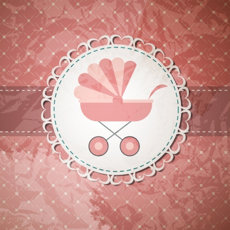 baby carriage: Vector illustration of pink baby carriage for newborn girl