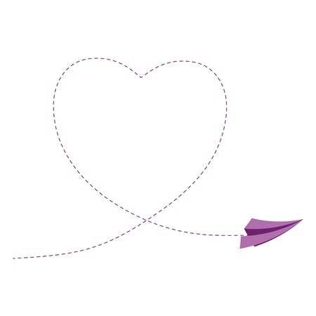 euphoric: Sign with paper plane and heart illustration
