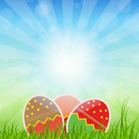 manic: Pasqua carta di uova con le uova colorate illustrazione