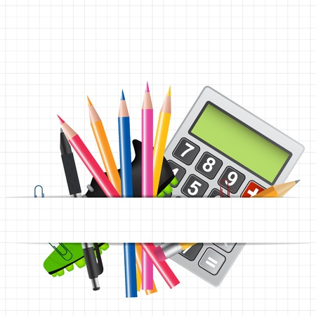 School theme background with different tools  Vector illustratio Vector