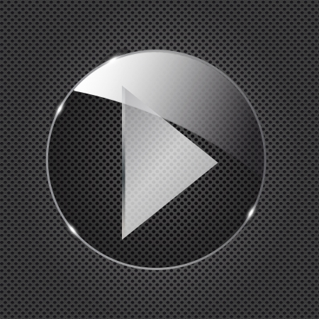 Glass  button icon on metal background  Vector illustration illustration