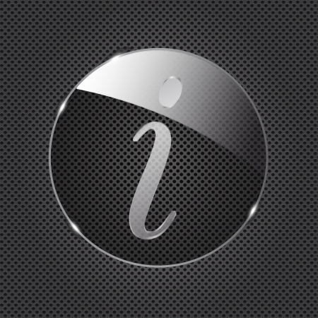 illust: Glass information button icon on metal background  Vector illust