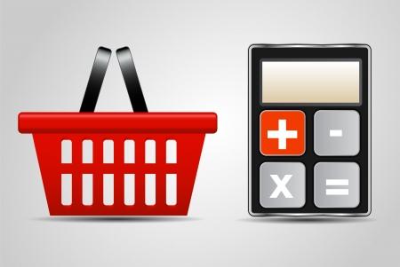 consumerism: calculator and shopping basket vector illustration
