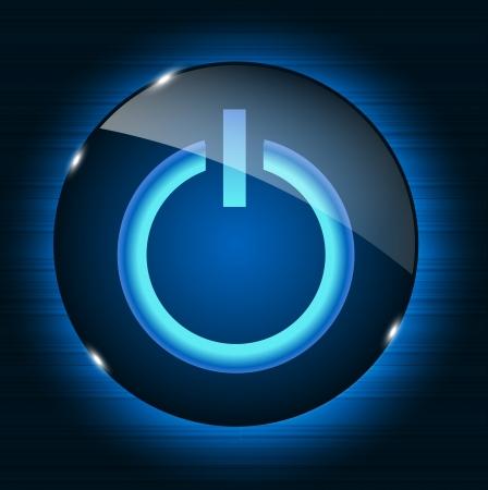 Glass power button icon on abstract background  Vector illustrat Stock Illustratie