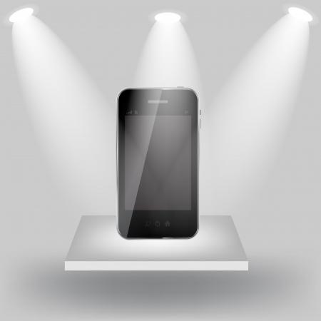 shelve: Mobile phone on white shelve on light grey background  Vector  i Illustration