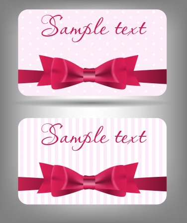 Card with bow and ribbon  Vector illustration Vector