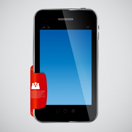 mobile phone with red label vector illustration Stock Vector - 19144302