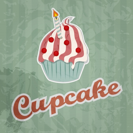 cupcake retro background  Vector illustration Vector