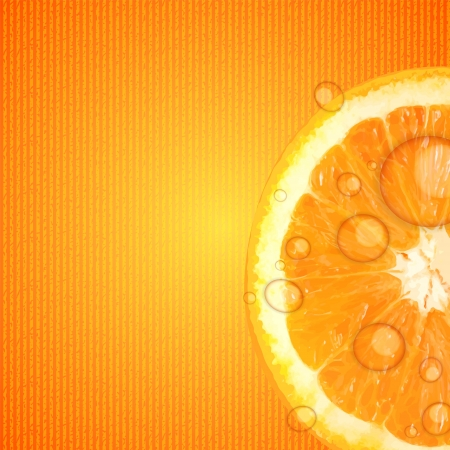 Fresh juicy orange background illustration