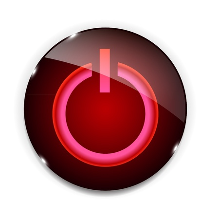 running off: Glass power button icon   illustration
