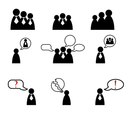 family with two children: Human management icons set  illustration