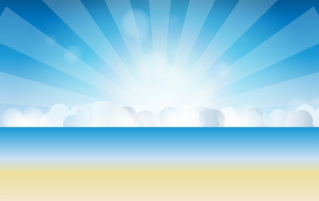 waters: sunset sky, water vector illustration