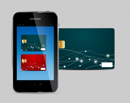 Credit card and Phone vector illustration Stock Vector - 19498540