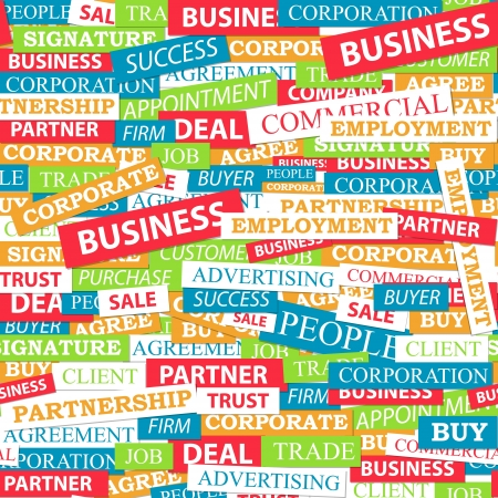 comercial: Seamless pattern, which is composed of words on business themes