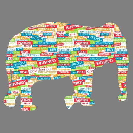 Elephant figurine, made up of words on a business topic Vector