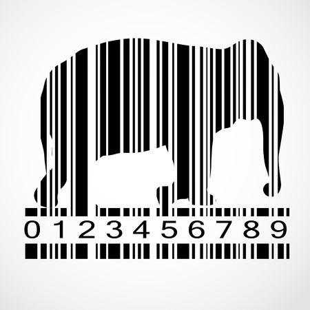Barcode elephant image  Stock Vector - 19667337