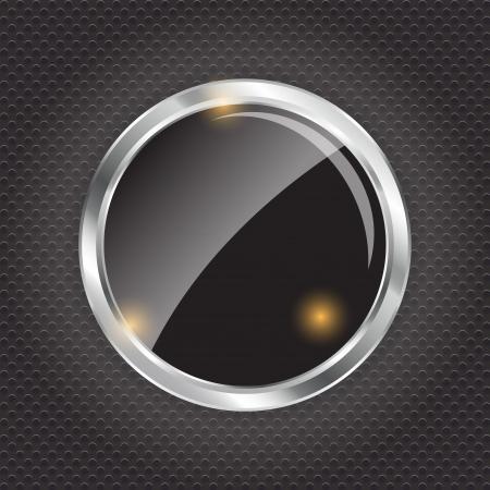 illus: Empty glass frame on metal background with lights  Vector  illus Illustration